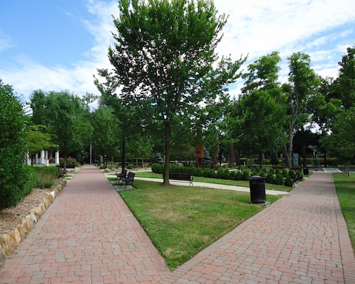 New_Providence_NJ_public_park_with_diverging_walkways